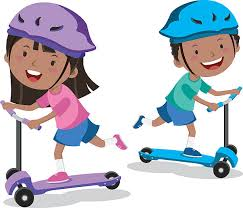 Female Student Riding Push Scooter Clip Art Vector Images Illustrations