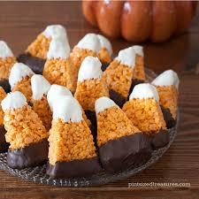 Rice Krispie Treats Halloween Shapes by Chocolate Dipped Candy Corn Treats Pint Sized Treasures
