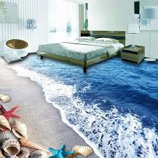 Custom 3D Floor Wallpaper Beach Sand Shells Living Room Bedroom Bathroom Mural PVC Self Adhesive Waterproof In Wallpapers From Home