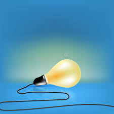 concept design single light bulb with cord stock vector image