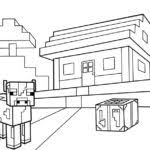 Printable First House Cow Coloring Sheet Minecraft