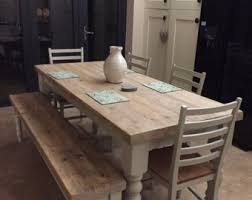 Farmhouse Dining Table With Reclaimed Wood Top And Bench Made To Measure Custom Restaurant Shabby Chic Farrow Ball Painted 6 Or 8 Seater