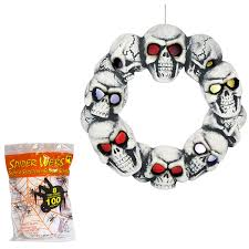 Spirit Halloween Jumping Spider by Amazon Com Halloween Wreath Animated Led Lighted Skull Prop With