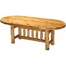 Cedar Log Standard Finish Oval Dining Table