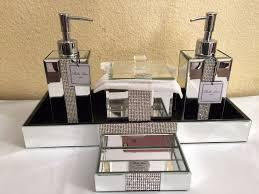 Restoration Hardware Mirrored Bath Accessories by Bella Lux Mirrored Rhinestone Bathroom Accessories Dispenser