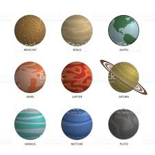 Solar System Planets Decorative Icons Set Isolated stock vector