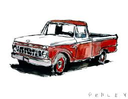 100 Ford Truck Vintage Red On Canvas Penley Art Co
