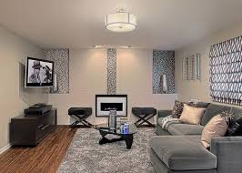 Snazzy Family Room With Mosaic Tile Accent Wall