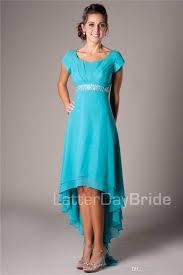 summer teal high low chiffon beach modest bridesmaid dresses cap
