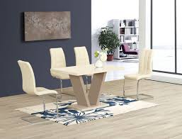 100 White Gloss Extending Dining Table And Chairs Floris Cream High