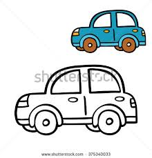 Funny Simple Coloring Page Vector Illustration Of Cartoon Car For Children
