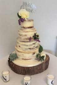 4 Tier Semi Naked Wedding Cake With Simple Rustic Style Fresh Flowers And Succulents A