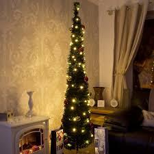 Pre Lit Slim Christmas Tree Asda by Christmas Pop Up Christmas Tree With Led Lights Tinsel Lightspop