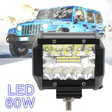 100 Truck Light Rack 4 Inch 60W 6000K White Waterproof Three Rows LED Car Working