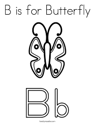 B Is For Butterfly Coloring Page