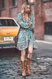 Chic Floral Bohemian Street Style Dress Can Paired With Brown Leather Cowboy Boots And Shoulder College Bag Trendy Girls Appeals Their