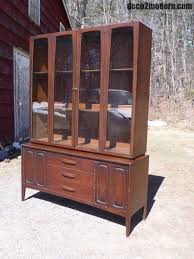 Baker Breakfront China Cabinet by Mid Century Modern Broyhill Emphasis Walnut Hutch Buffet China
