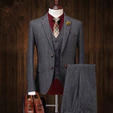 Charcoal Mens Vintage Suit 3 Pcs Tweed Fleck Classic Slim Fit Wool Blend Suits
