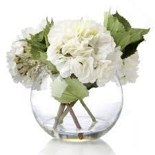 Peony White Hydrangeas Faux Flowers in a Spherical Glass Bowl QVC UK