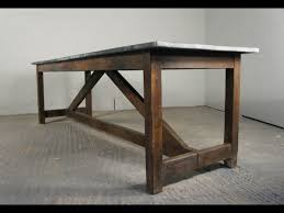 Industrial Pine And Zinc Top Dining Table Kitchen Island