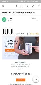 Mango Starter Kit Coupon Code 20 Off : Juul I Just Got A Free Gold Juul Juul 20 Off Starter Kit Juuls Answer To Its Pr Cris The Millennial Marlboro Man Sea Pods For Juul 1 Pack Of 4 Watermelon Vs Reddit Andalou Printable Coupons Syntevo Smartgit Coupon Flavor Code January 2018 September Bellacor Codes Cengage Brain Digital Book Discount Discount Grills Free Shipping Online Promo Red Box