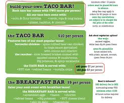 Comely A Taco Bar Menu Menu Options Two Girls Catering Along With ...