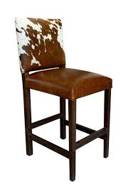 Modern Cowhide Bar Stool With Back