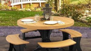 round picnic table with attached benches plans youtube