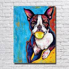 2018 Famous Animal Artwork Hand Made Dog Oil Painting Bedroom Wall Decor Cheap Modern No Framed From Dafenoilpaintingyeah