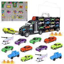 100 Toy Car Carrier Truck Transport Rier SetIncludes 8 Sports 2 OffRoad S 2 Helicopters 2 Roadblocks 1 City Map