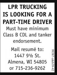 Part-Time Driver, LPR Trucking, Almena, WI How Trucking Went From A Great Job To Terrible One Money Mcdonalds Delivery Rider Jobs Parttime Drivers On Full Time And Part Truck Driver In Cheshire Ct Lily Shuttle Bus Job At Green Way Shuttles In Houston Tx 21 Time Jobs For Students Singapore Parttimejobssg 9 Best Driving Images Pinterest Posting Regional Local Positions Avaliable Bedford Pa Dicated Cdl Tristar Transportation Columbus Oh Description Salary Education Life Of An American Youtube