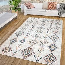 wohnzimmer teppich kurzflor vintage boho design modern beige blau rot gelb größe 200x290 cm