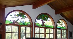 Windows Pictorial Stained Glass Rustic Living Room