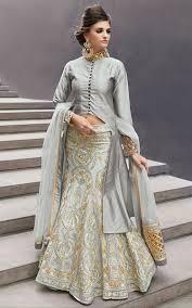 punjabi long choli lehengas shop online grey embroidered satin lengha