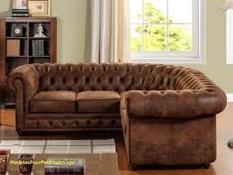 chesterfield canapé fauteuil imitation cuir vieilli en d angle aspect chesterfield
