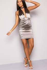 grey satin halterneck mini dress lasula
