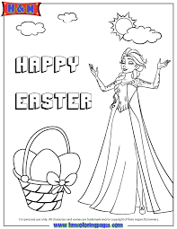 Elsa And Easter Basket Coloring Page