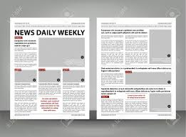 Newspaper Template Layout Print Design With Dark Red And Black Elements Vector Pages Stock
