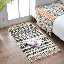 retro böhmischen woven baumwolle leinen teppich teppich nacht teppich geometrische boden matte wohnzimmer schlafzimmer teppich wohnkultur