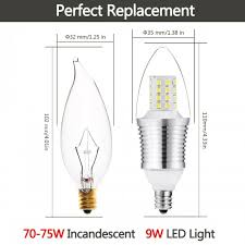 style 9 watt daylight white 6000k b35 e12 base led light bulbs 70w