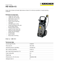 High Pressure Washer Hds 7 by Hd 10 25 4 S Karcher Pdf Catalogues Documentation Brochures