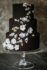 Chocolate Wedding Cake With White Flowers