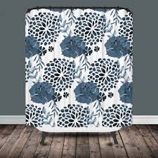 Black And White Flower Shower Curtain by Modern Chintz Shower Curtain Project Cottage