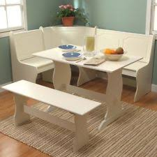 Nook Corner Dining Set Kitchen Table Bench White 3 Pieces Breakfast Booth