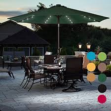 Sundale Outdoor Solar Powered 32 LED Lighted Patio Umbrella Table Market With Crank And Push