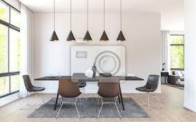 fototapete moderne esszimmer dekorieren mit braunen ledermöbeln 3d rendering
