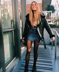 Denim Skirt And Leather Jacket