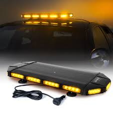 100 Strobe Light For Trucks Amber Black Hawk 27 LED Security Warning Roof Top Bar