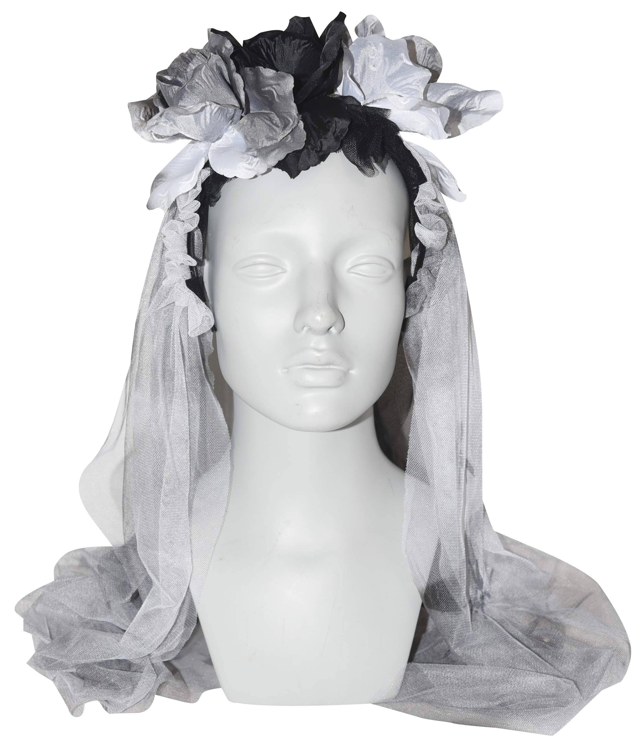 Gothic Halloween Headband with Roses and Veil, 30 inch