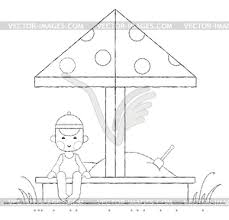 Boy Playing In Sandbox Outline